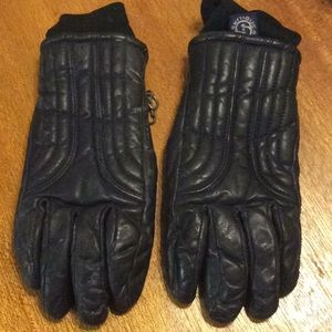 Skitique Navy Blue LeatherPile Lined Ski Gloves